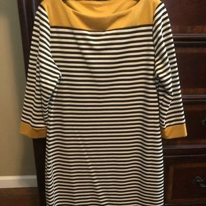 Black/white/mustard shift dress size 14
